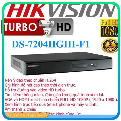 [NHÀ PHÂN PHỐI, BH 2 NĂM, FREESHIP 20K]Đầu ghi hình hd-tvi hikvision ds-7204hghi-f1 chuẩn h.264+, ỗ trợ gán thêm 2 camera IP 4MP, cho phép tắt bớt các kênh analog để gán thêm camera IP, tối đa 18 camera IP 4MP