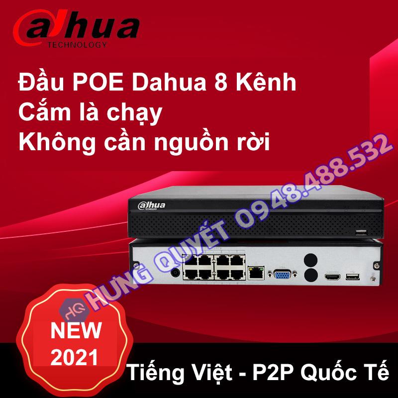 Đầu ghi Camera POE Dahua 8 kênh 2108HS-8P ( 8 cổng POE cắm dây LAN là chạy) - Tiếng Việt - P2P Quốc tế