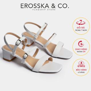 Gia y sandal cao gót Erosska thơ i trang mũi vuông phô i dây quai ma nh cao 3cm EB018 (WH) thumbnail