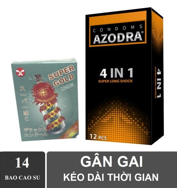 Bộ 1 hộp Bao cao su gân gai kéo dài thời gian AZODRA hộp 12 chiếc tặng 1 hộp bcs Gold 2 cái cao cấp