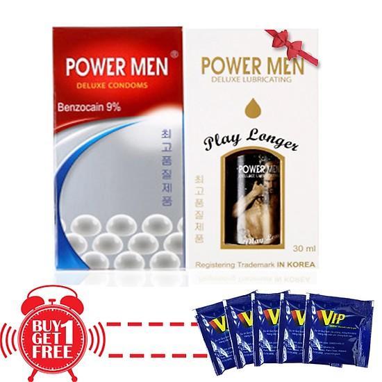 Bao cao su Siêu kéo dài - Gân sọc - Hạt nổi Powermen Deluxe 12s + gel bôi trơn kéo dài 30ml + quà tặng thêm