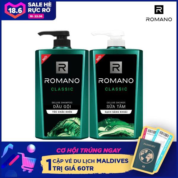 Combo Dầu gội và Sữa tắm Romano Classic 650gr/chai cao cấp