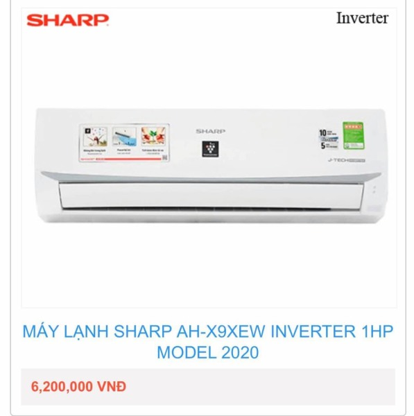 Máy Lạnh Sharp_AH-X9XEW INVERTER 1HP MODEL 2020