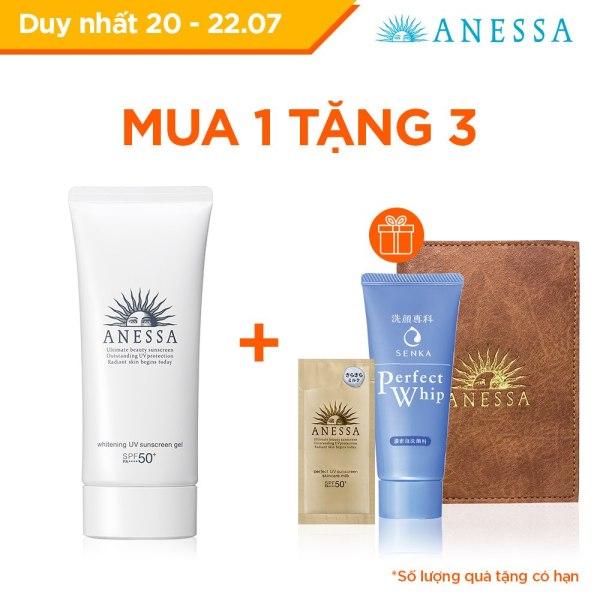 Gel chống nắng dưỡng trắng ngăn sạm da giảm thâm nám Anessa Whitening UV Sunscreen Gel - SPF50+ PA++++ - 90g cao cấp