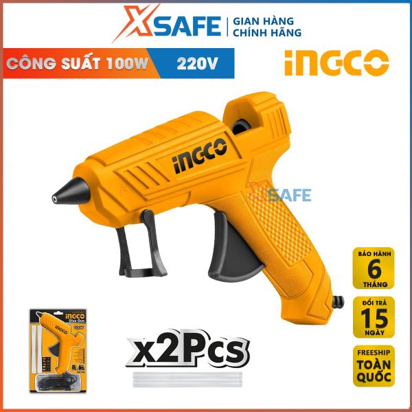 Súng bắn keo nến INGCO GG148 100W 220V. Máy bắn keo cầm tay mini tặng kèm theo 2 cây keo 11.2mm tạo keo 13-18g/p. Phân phối chính hãng XSAFE
