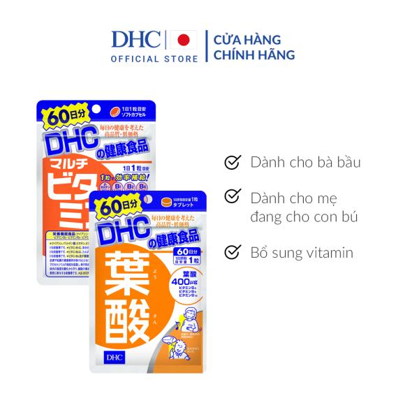 Combo Viên uống DHC Vitamin Hỗ Trợ Thai Sản (Folic & MultiVitamin) cao cấp