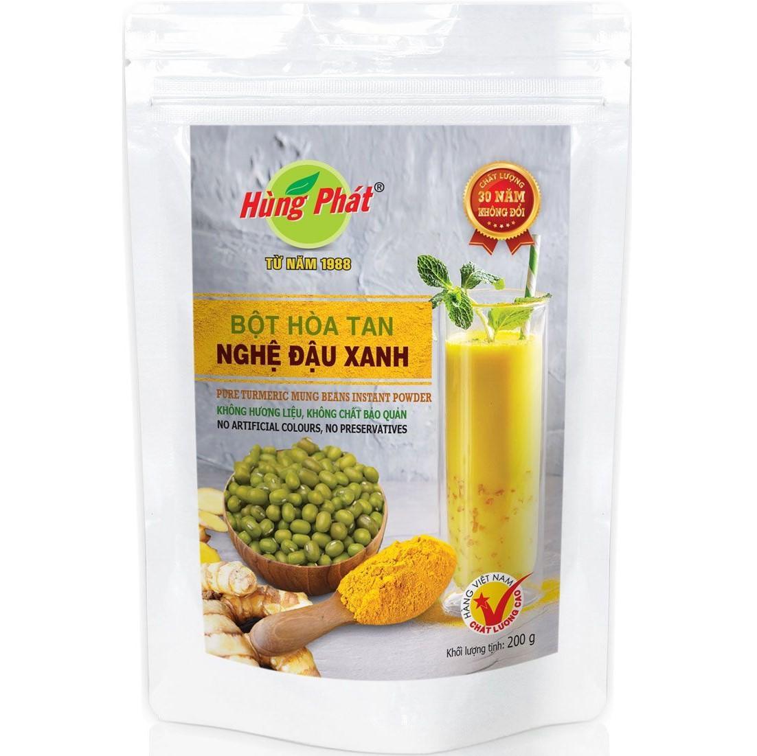 Bột Hòa Tan Nghệ Đậu Xanh Hùng Phát túi 200 g
