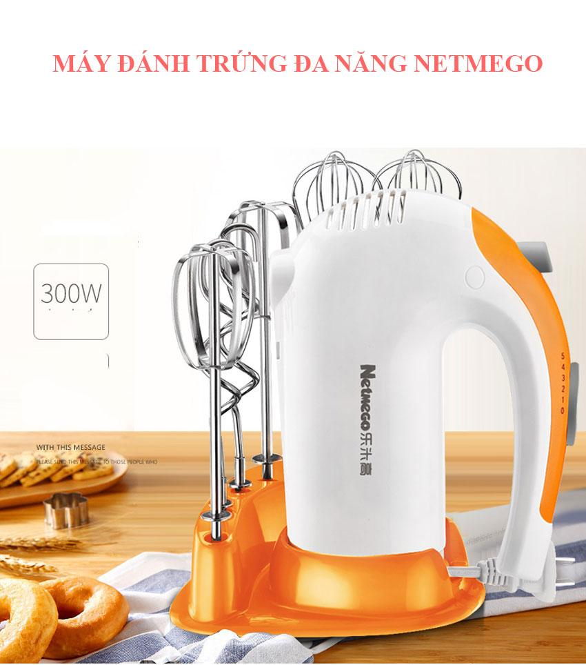 Máy Đánh Trứng Cầm Tay, Dụng cụ đánh trứng bằng tay. Máy đánh trứng cầm tay Netmego N38D 300W Công Suất Lớn, Hiện Đại Giúp Việc Nội Trợ Đơn Giản Và Tiết Kiệm Thời Gian Hơn