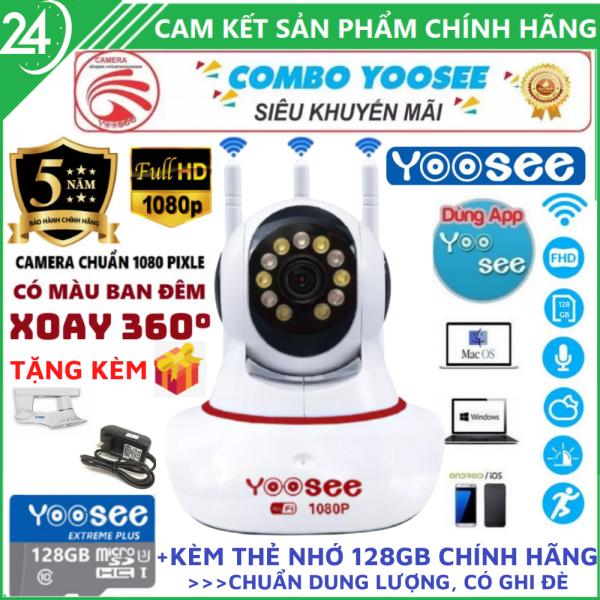 [LỰA CHỌN KÈM THẺ NHỚ 128GB CHÍNH HÃNG- BẢO HÀNH 5 NĂM] Camera Wifi Trong Nhà Camera Yoosee 3 Râu 2.0Mpx 1080P - Quay Đêm Có Màu, Xoay 360°, Cài Đặt Tiếng Việt 100%, Phát Hiện Và Theo Dõi Chuyển Động, Chia Sẻ Nhiều Thiết Bị, Đàm Thoại