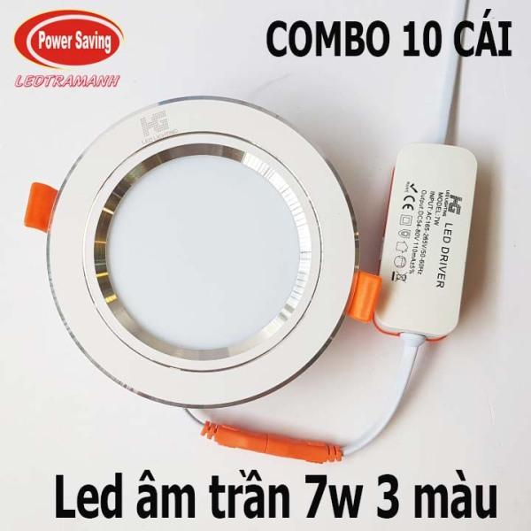 combo 10 Đèn led âm trần HG 7W 3 màu viền bạc