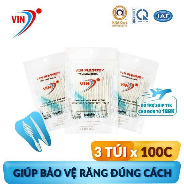 Tăm nhựa nha khoa VINON S1 (Combo 3 túi x túi 100 tăm). Bộ Y Tế chứng nhận an toàn vệ sinh: ISO 9001-2015 và QCVN 12-1:2011/BYT. 100% CHÍNH HÃNG giá rẻ