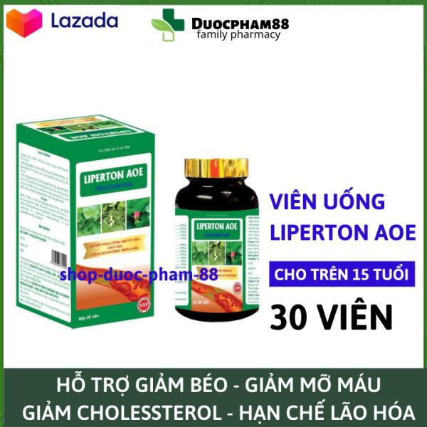 Viên uống Liperton AOE giảm mỡ máu, hỗ trợ giảm béo, giảm cholesterol trong máu – lọ 30 viên – Hoàn toàn thảo dược cao cấp
