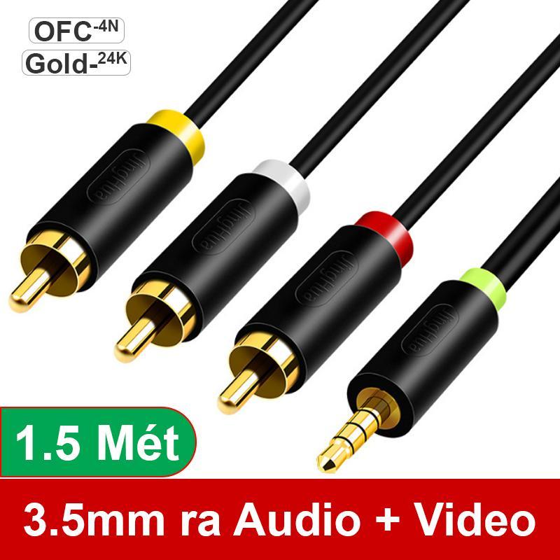 Cáp chuyển 3,5mm 4 khấc ra 3 đầu AV/RCA cho TV Loa Amplifier - Dây cáp 3.5mm AV mini ra 3 đầu bông sen AV 1 đường hình 2 đường tiếng R+L 1.5 mét