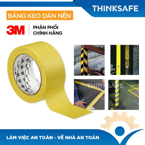 Băng keo dán nền 3M 764 keo cảnh báo chuyên dùng dán cảnh báo phân ô phân làn, cảnh báo nhà xưởng, tủ điện (Nhiều màu sắc 50mm X 32,9m) - Bảo hộ Thinksafe