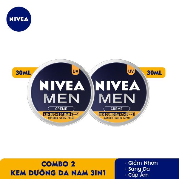 Bộ đôi Kem Dưỡng Da Nam NIVEA MEN Creme 3in1 Giúp Giảm Nhờn, Sáng Da, Cấp Ẩm (30ml) - 83923 giá rẻ