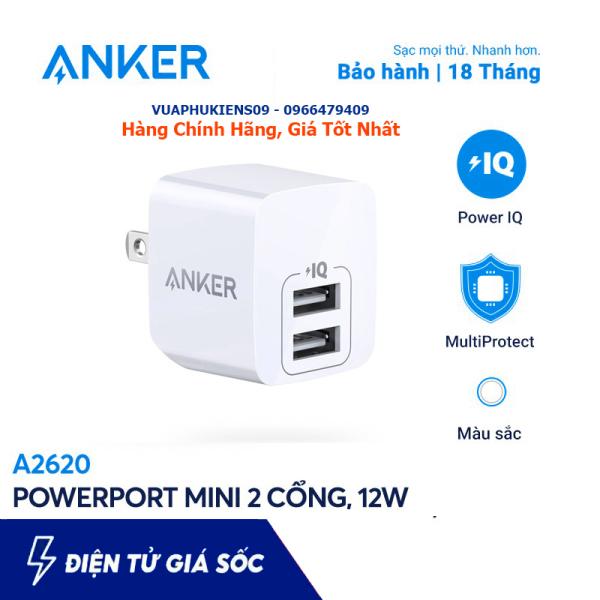 Củ Sạc 2 Cổng Anker A2620 12W PowerPort Mini