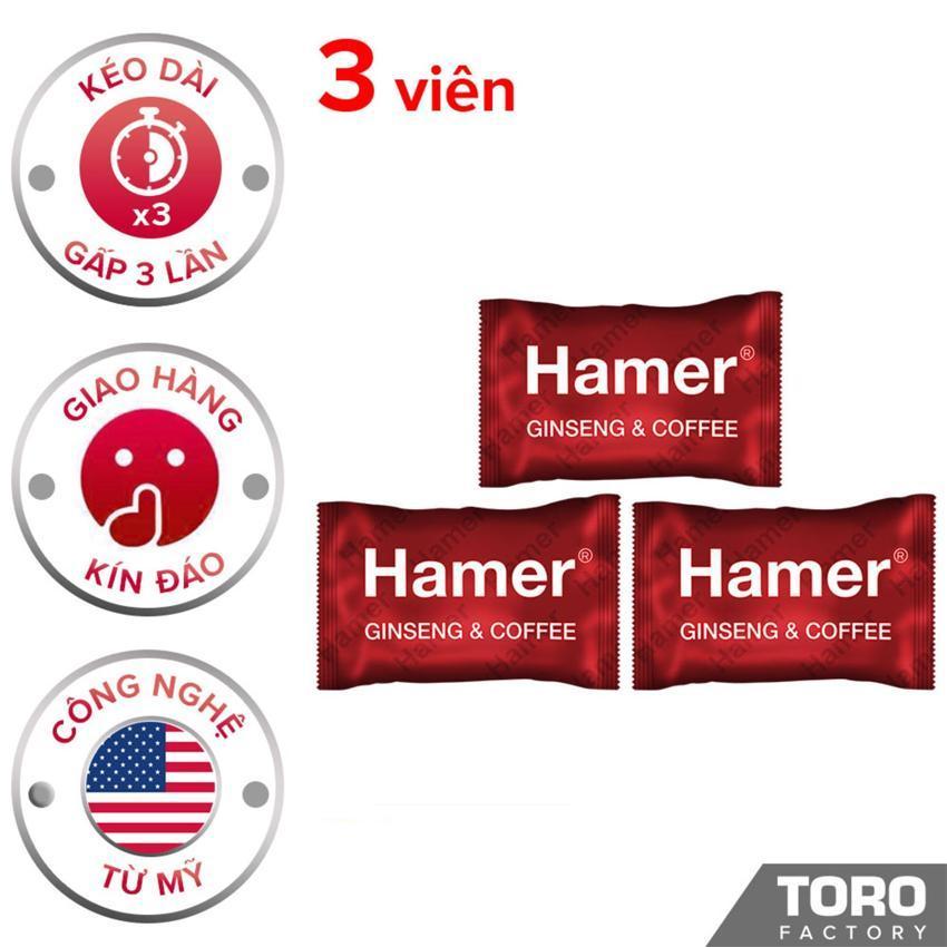 Bộ 3 Kẹo Sâm Hamer (Malaysia) - Kéo dài thời gian quian hệ , trị xuất tinh sớm, tăng cường sức khỏe nam giới - 3 viên - [TORO FACTORY] chính hãng