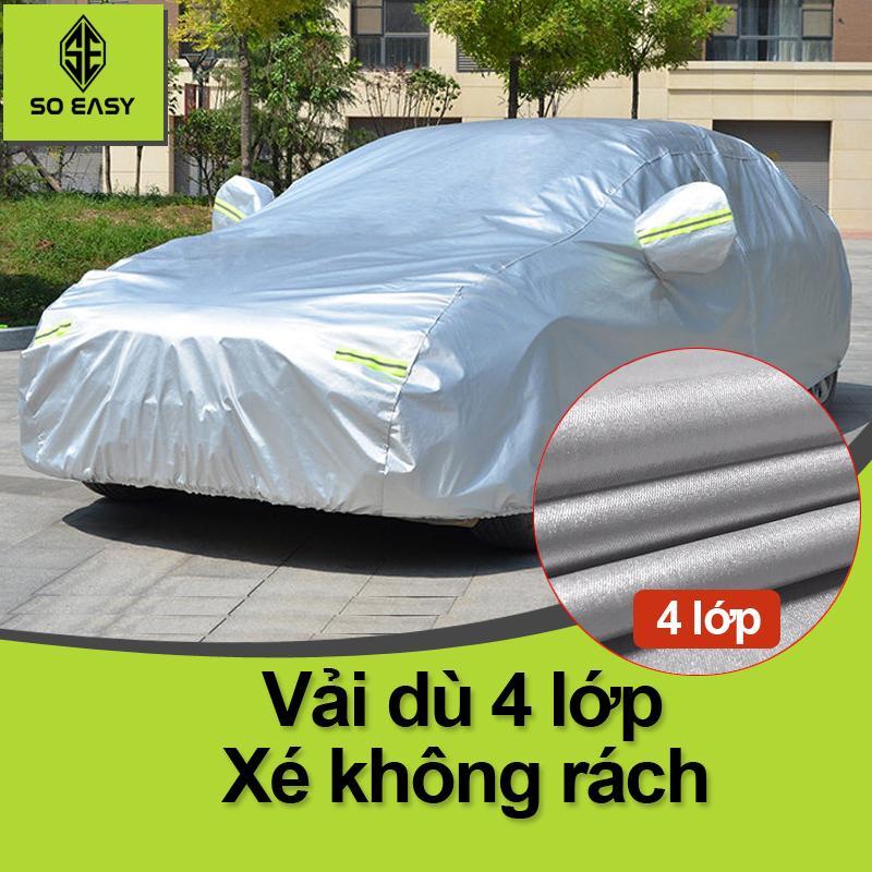 [HCM]Bạt Phủ xe Ô Tô Bạt phủ xe hơi - áo trùm che phủ xe hơi vải dù oxford cáo cấp bạt có nỉ chống xước sơn 4 chỗ đến 7 chỗ chống nóng mưa xước sơn vân 4D (BPX) - Xám