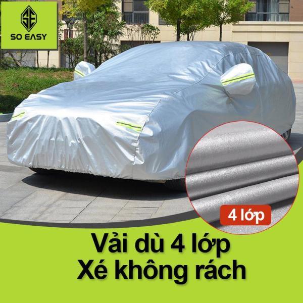 Bạt Phủ xe Ô Tô, Bạt phủ xe hơi - áo trùm che phủ xe hơi vải dù oxford cáo cấp bạt có nỉ chống xước sơn 4 chỗ đến 7 chỗ, 2 lớp chống nóng mưa xước sơn vân 4D (BPX) - Xám