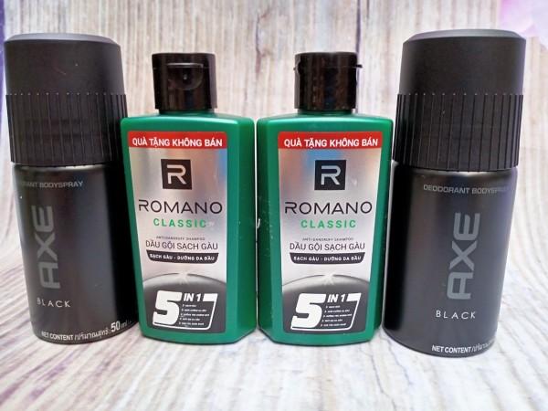 Trọn bộ dành cho nam giới 4 món gồm: 2 Chai dầu gội hương nước hoa Romano 60g + 2 chai Xịt khử mùi toàn thân AXE 50ml giá rẻ