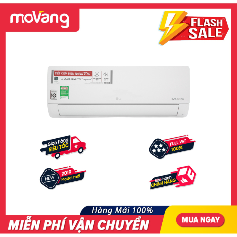 Bảng giá Máy lạnh LG Inverter 1 HP V10ENH (2019) - Chế độ tiết kiệm điện: Dual Inverter, Công suất tiêu thụ trung bình:0.92 kW/h