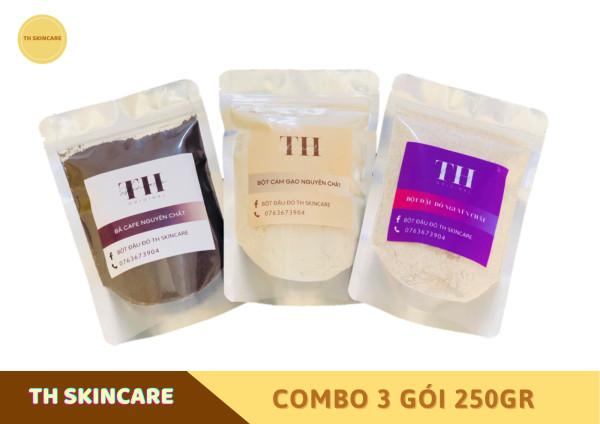 Combo 3 gói 250 gram Bột thiên nhiên dưỡng da TH Skincare: Đậu đỏ + Cám gạo + Cafe