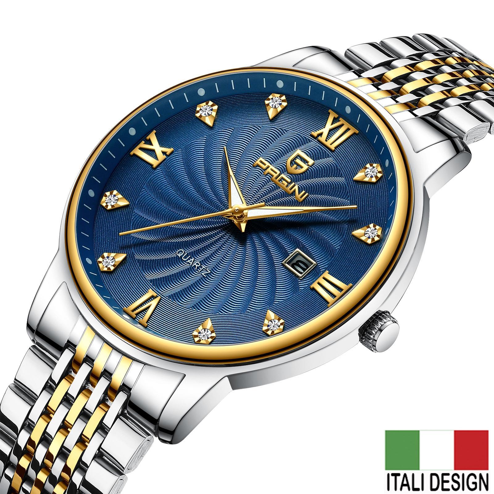 Nơi bán (Siêu Trợ Giá) Đồng Hồ Nam PAGINI ITALIA PA8222 Mặt Đính Kim Cương Nhân Tạo - Hiển Thị Lịch Ngày Cao Cấp
