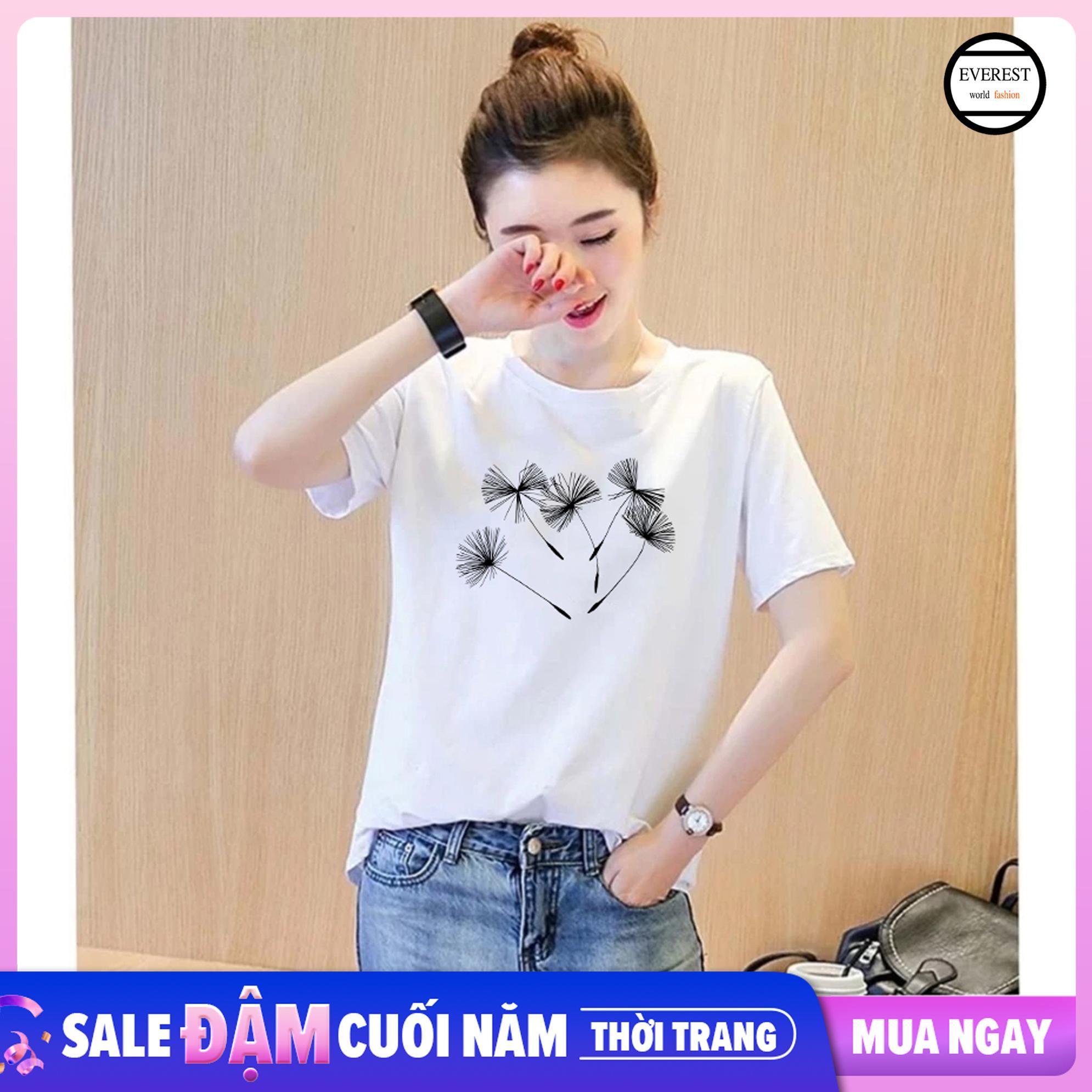 Offer Khuyến Mãi Áo Thun Nữ In Hình Hoa Bồ Công Anh Form Rộng Hàn Quốc Vải Dày Mịn AoK1565