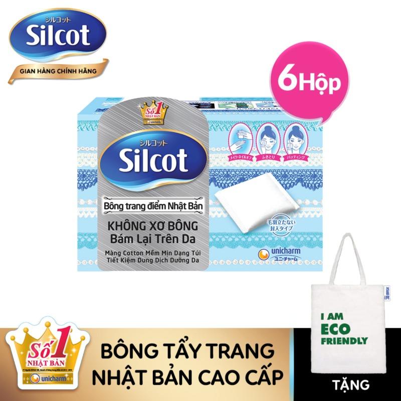 [Tặng túi Tote] Combo 6 hộp Bông trang điểm (Bông tẩy trang) Silcot hộp 82 miếng nhập khẩu