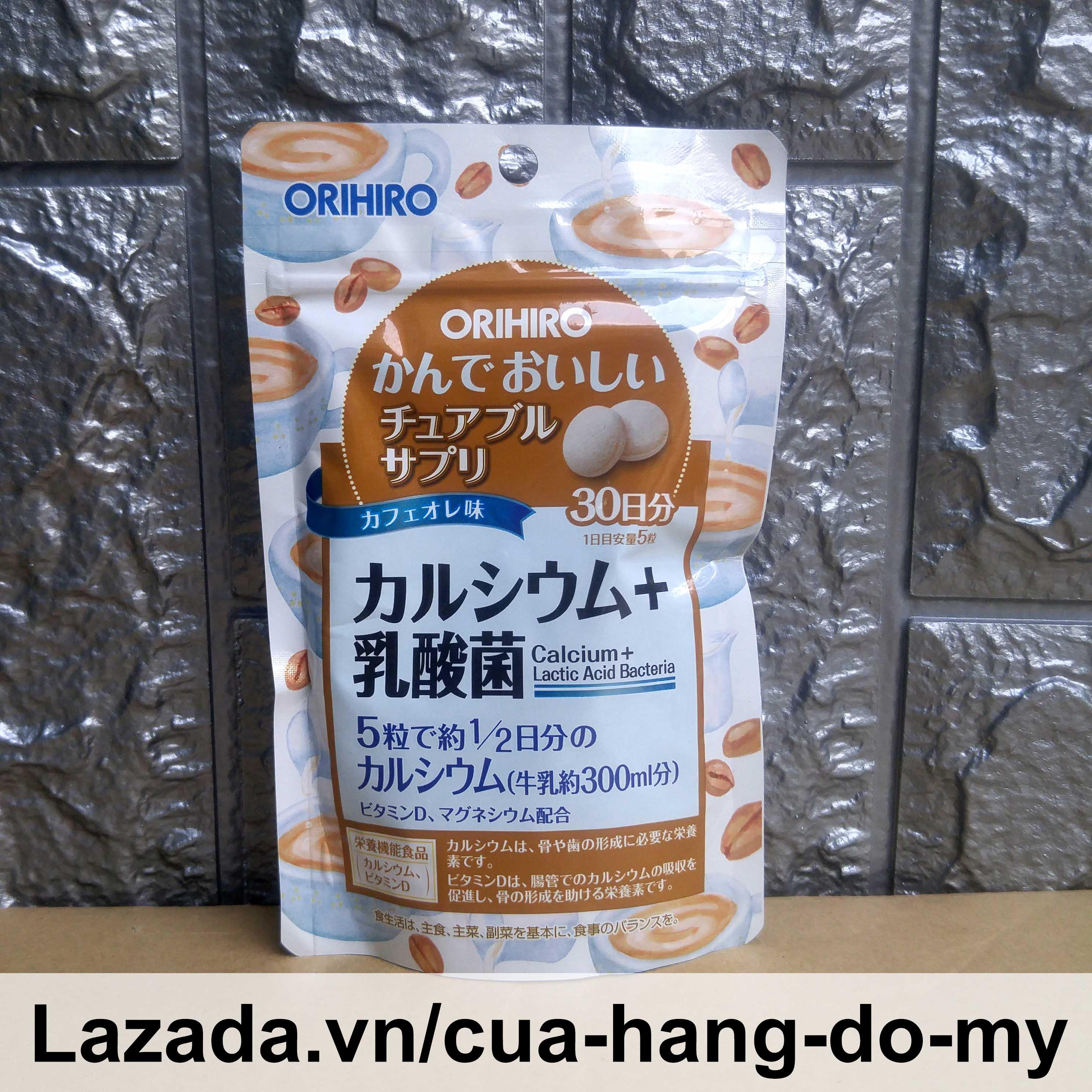 Kẹo ngậm bổ sung Canxi Và Lợi Khuẩn Orihiro 120 viên Calcium Lactic Acid Bacteria - Kẹo nhai hương cà phê bổ sung vi chất cao cấp