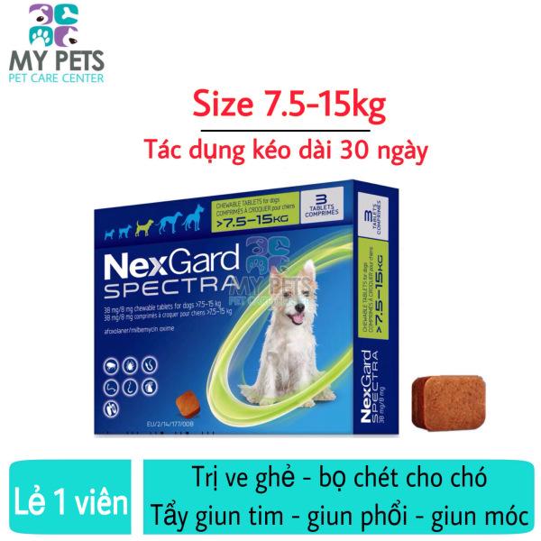 NEXGARD SPECTRA Thuốc trị ve ghẻ, bọ chét, demodex, tẩy giun cho chó - Lẻ 1 viên (size 7,5-15kg)