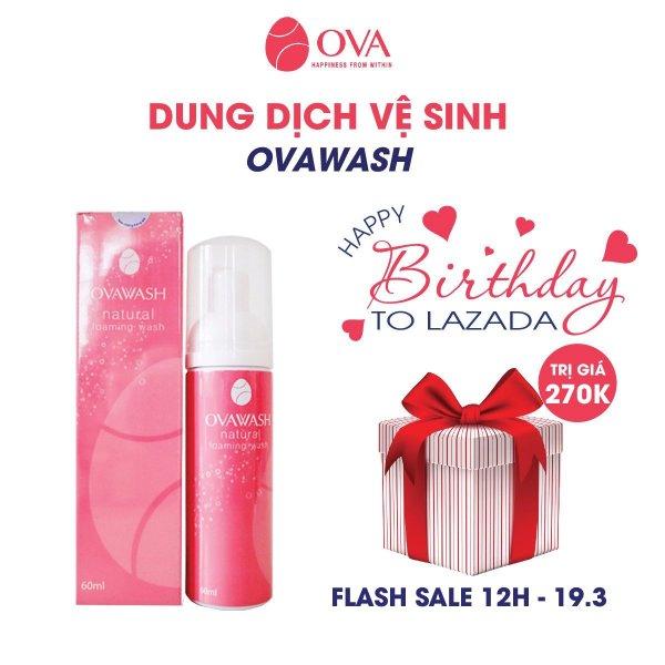 Dung dịch vệ sinh phụ nữ tạo bọt Ovawash, làm hồng, ngăn ngừa và giảm nguy cơ viêm nhiễm vùng kín, loại bỏ mùi hôi tanh, dung tích 60ml nhập khẩu
