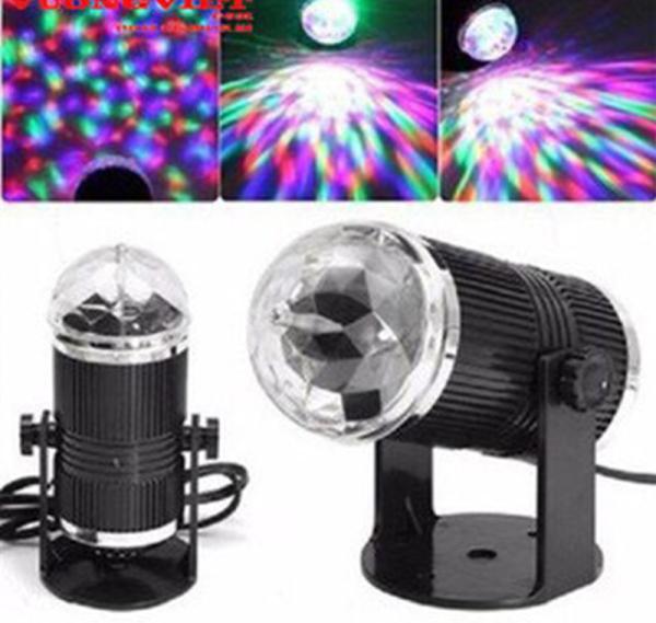 Đèn Led pha lê xoay 7 màu RGB  Nguồn 22A0V RHD-43