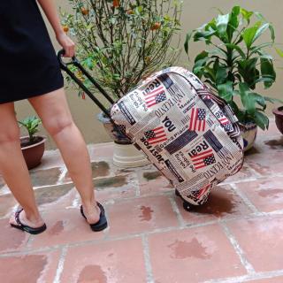 Vali kéo du lịch, túi kéo du lịch họa tiết, vali vải dù chống thấm nước, túi du lịch có bánh xe kéo tiện dụng thumbnail