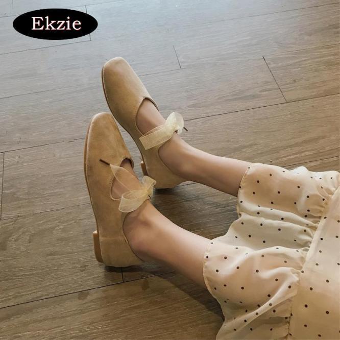 2020 phiên bản tiếng Hàn mới mùa xuân và mùa hè da lộn ren-up nơ giày ballet vuông ngọt ngào vòng đầu vuông giày đơn giày bệt Giày Mary Jane màu be đen thích hợp hẹn hò, tiệc tùng, giản dị hàng ngày giá rẻ