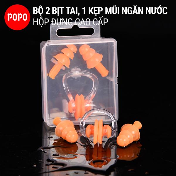 Bịt tai kẹp mũi cao cấp chống nước khi bơi, ngăn nước tuyệt đối POPO Collection