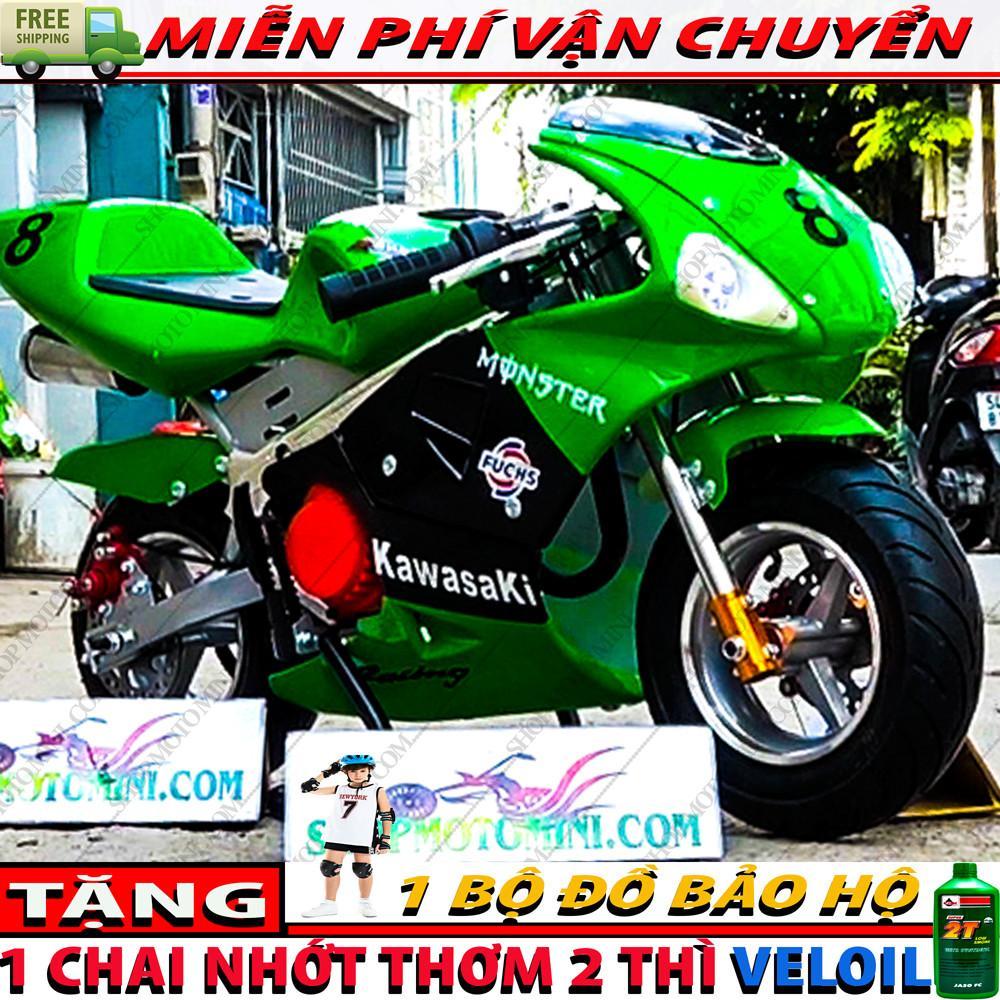 Mua Moto mini ruồi 50cc ( Bản có 2 đèn LED + 2 ống bô độ cực ngầu ) | Cào cào 2 thì gắn máy cắt cỏ chạy bằng động cơ xăng pha nhớt