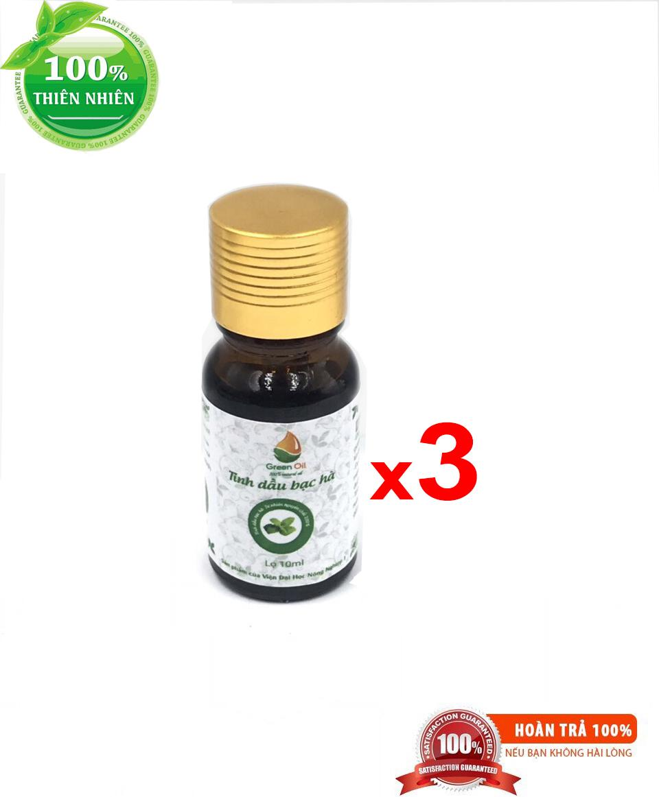 Combo 3 lọ tinh dầu bạc hà Greenoil 10 ml