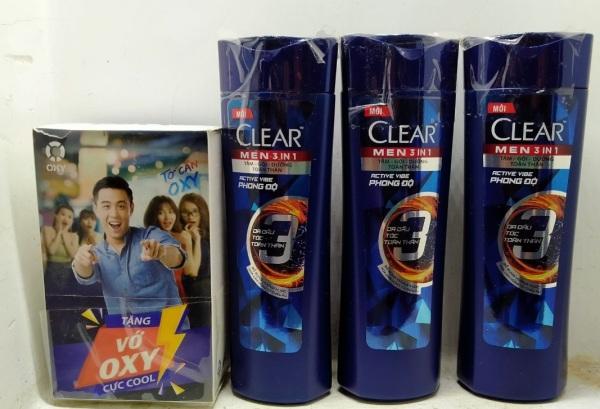 Combo 3 Dầu Tắm Gội Clear Men 3 Trong 1 - Active Cool Mát Lạnh (70g) 70g, Tặng 1 Vớ Nam Oxy