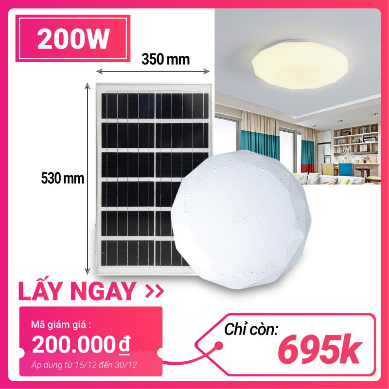 Đèn năng lượng mặt trời ốp trần trong nhà 200w. Cảm biến ánh sáng tự động bật sáng khi trời tối, và tắt đèn khi trời sáng