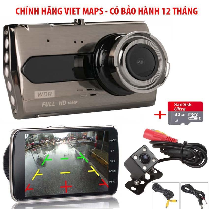 [ hàng nhập khẩu ] Camera Hành Trình xe hơi X008 Tiếng Việt ( Trước + Sau) - màn hình 4 inch-Lưu trữ video tối đa 45 ngày qua thẻ nhớ MicroSD- Xem lại Video đã ghi hình qua điện thoại- Bh 24 Tháng