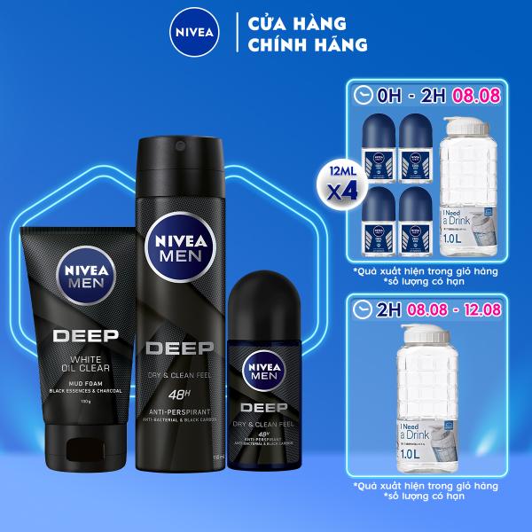 Bộ 3 sản phẩm Xịt và Lăn Ngăn Mùi NIVEA MEN DEEP Than Đen Hoạt Tính (Xịt 150ml - 80027 & Lăn 50ml - 80031) & Sữa Rửa Mặt NIVEA MEN DEEP Than Đen Hoạt Tính Hút Nhờn Sáng Da (100G) - 84415 nhập khẩu