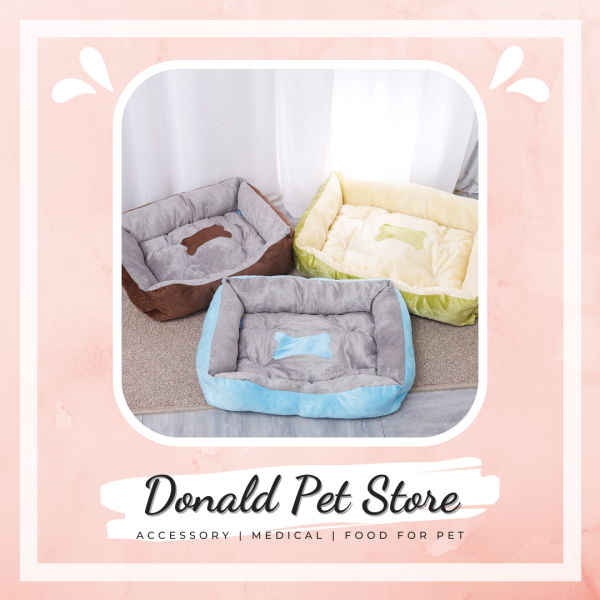 Đệm ngủ cho chó mèo hình xương form vuông siêu ấm áp có size lớn cho bé từ 10kg - Donald Pet Store