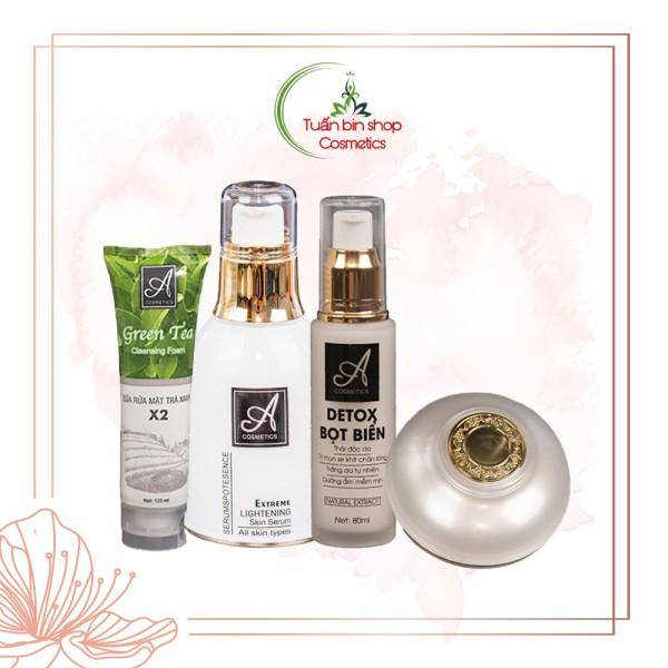 Bộ sản phẩm chăm sóc da mặt hoàn hảo Acosmetics (Sữa rửa mặt, Detox, Serum và Kem face Pháp) giá rẻ
