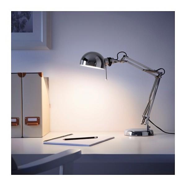 [Chính hãng IKEA] Đèn bàn học cao cấp kiểu dáng cổ điển Ikea FORSA chất liệu thép mạ Chrome màu Bạc sáng bóng