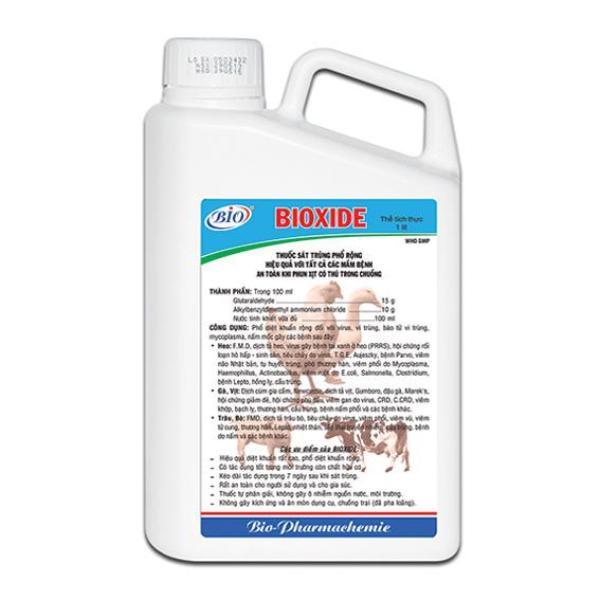 BIODIXE SÁT TRÙNG CHUỒNG TRẠI 1L. Đặc biệt hiệu quả với virus gây bệnh dịch cúm gia cầm, heo tai xanh