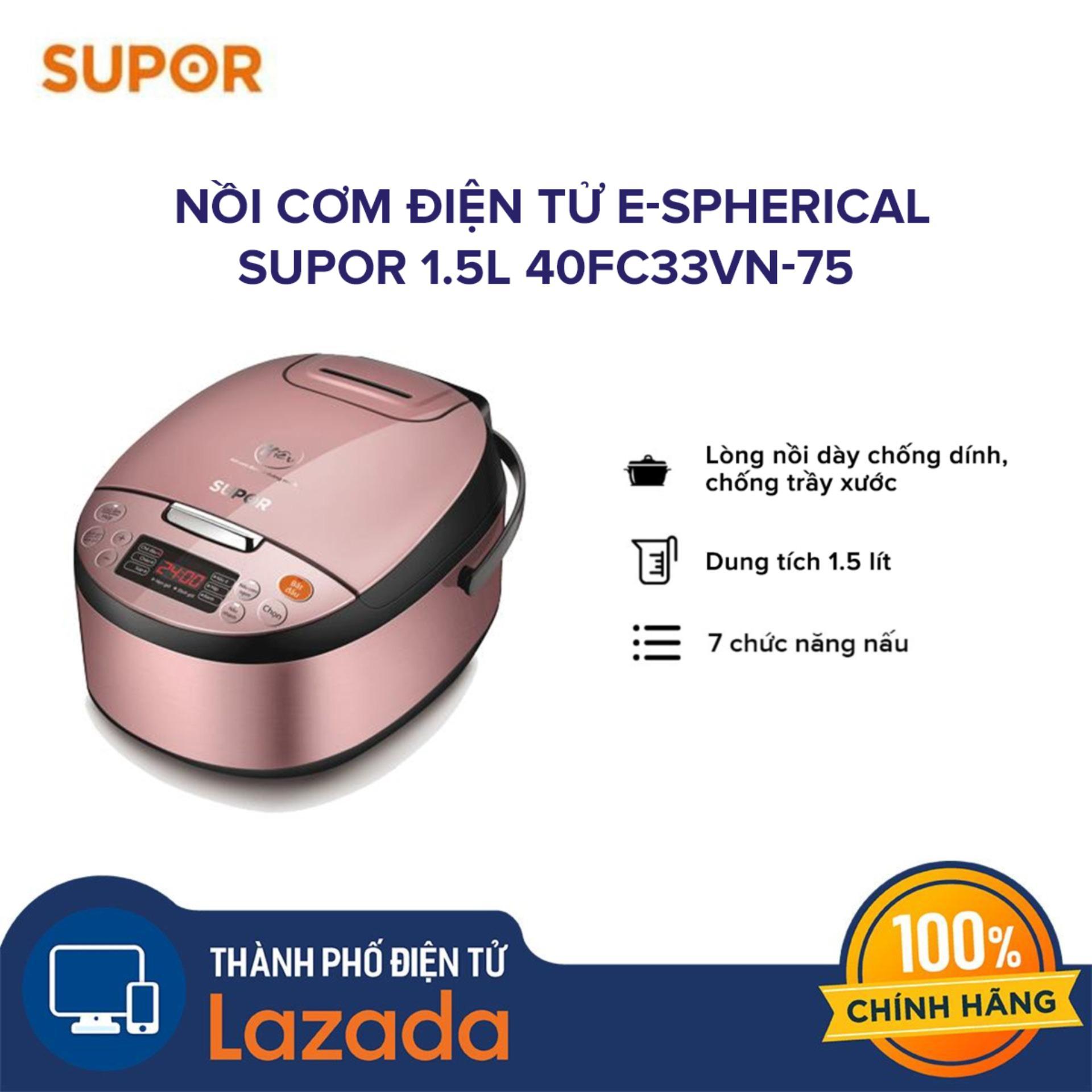 Nồi cơm điện tử Supor 1.5l 40FC33VN-75 lòng nồi chống dính - Hàng phân phối chính hãng