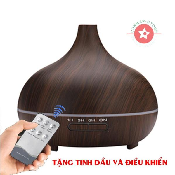 [TẶNG TINH DẦU VÀ ĐIỀU KHIỂN] Máy khuếch tán tinh dầu siêu âm cao cấp dung tích 550ml thay thế đèn xông tinh dầu, máy phun sương tạo độ ẩm trong phòng điều hòa, Máy tạo độ ẩm Ultrasonic/Humidifying-Diffusers, [CUNMAP-STORE]