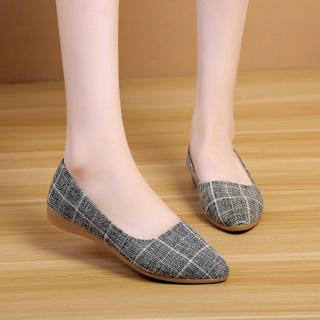Giày búp bê nữ thời trang vải kẻ sọc kiểu dáng công sở dáng cơ bản V224 thumbnail
