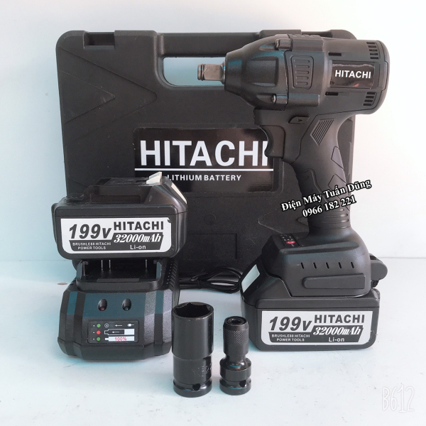[Fullbox] Máy vặn bulong Hitachi 199v, 2 pin, Kèm đầu chuyển vít và đầu khẩu 22